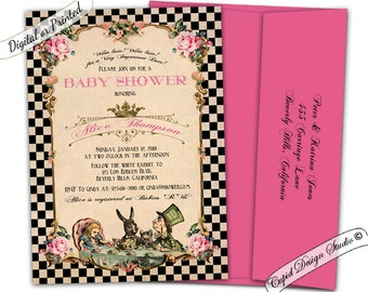 alice in wonderland baby shower invitation printable - alice in wonderland baby shower - mad hatter tea party invitations digital printable-