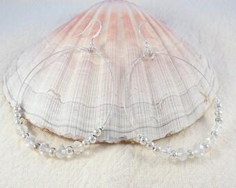 Silver beaded big hoop earrings - clear crystal bead dangle earrings - large hoops