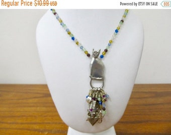 On Sale BARKER PEWTER Beaded Cat Charm Necklace Item K # 251