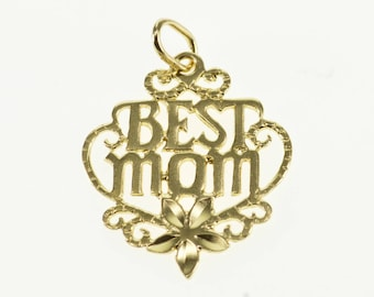 14k Best Mom Mother Word Cut Out Floral Pendant Gold