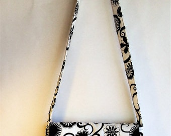 Fabric Purse handmade Black and White Messenger bag with cross body shoulder strap made from recycled materials by Cant Have Enough