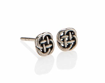 Celtic Earrings , Dainty Celtic Knot Stud Earrings , Small Knot Earrings , 925 Sterling Silver