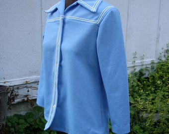 Vintage 70's Blue Polyester Long Sleeve Shirt - Pointy Collar