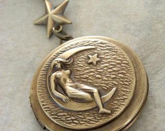 Locket Necklace - Moon Necklace - Moon Locket - Vintage Brass jewelry - Goddess Necklace - handmade jewelry