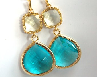 Blue Earrings, Yellow Earrings, Glass Earrings, Lemon, Aqua, Aquamarine, Gold, Bridesmaid Earrings, Bridal Earrings, Bridesmaid Gifts