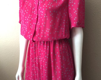 Vintage Women's 80's Dress, Fuchsia, Printed, Short Sleeve by JT Dress (M)