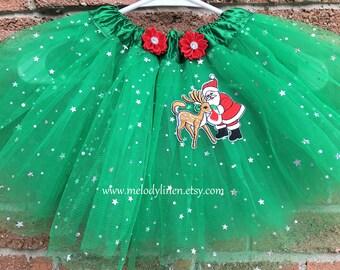 SALE-CHRISTMAS tutu Santa tutu kelly green sparkle tutu green star tutu reindeer tutu holiday tutu holiday outfit christmas outfit red tutu