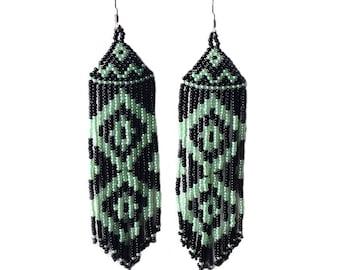 Native  American Beaded Earrings  Inspired.  Black Green Earrings. Long Earrings.  Beadwork.