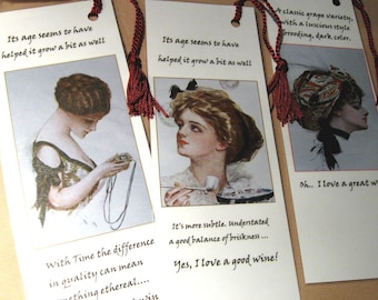 WINE Humor BOOKMARKS  / set of 3  Vintage Gals with Wine Humor  / Cheese  Pairings