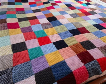 beautiful granny square throw 190/215 + flap made wool
