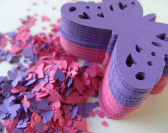 PURPLE and PINK,Paper butterflies,  confetti, paper craft, card making, tags , by DoodleDee2 on etsy