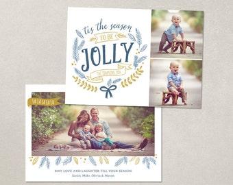 Digital Photoshop Christmas Card Template for photographers PSD Flat card - Jolly Script CC064