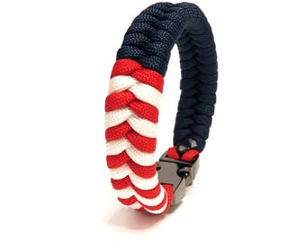 USA American Flag Mens Jewelry Paracord Survival Bracelet with Gun Metal Buckle by Tru550
