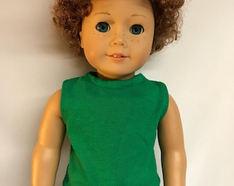 Green sleeveless shirt great alone or for layering 18 inch boy doll clothes