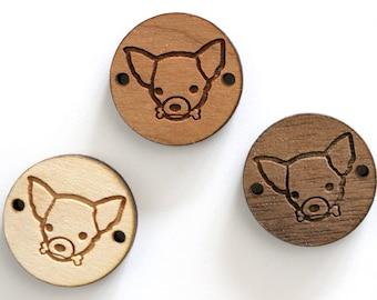 Chihuahua dog head engraved and laser cut, on wooden round piece for strap design - 3 wooden shades available