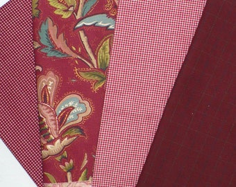 Lot de tissu rouge, coton carreaux et plaids, Bure, destockage, rouge, artisanat vacances bundle, plus de 1,5 verges