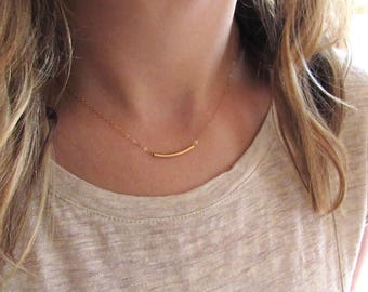 Gold Tube Necklace, Curved Tube Necklace, 14K Gold Filled Tube Necklace, Gold Bar, Curved Bar Necklace, Bar Necklace - 14k Gold-Filled Chain