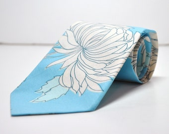 Men's Necktie Blue Chrysanthemum Boy's Tie