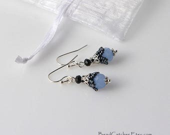 Small beadwoven bell flower Victorian earrings Blue