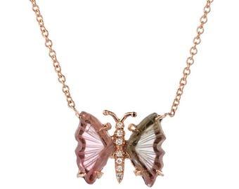 14K Rose Gold Tourmaline Butterfly Necklace
