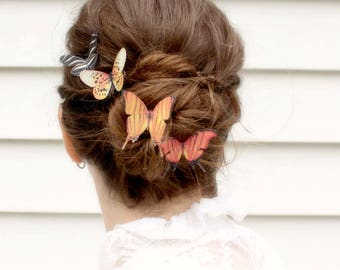 4 silk butterfly hair clips . your choice of butterflies . gifts for birthday, wedding, bridesmaids, parties, everyday . costume . handmade