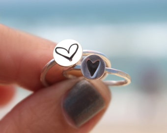 LOVE Ring, Heart Ring, Sterling Heart, LGR Heart Ring, Solid Heart Ring, Stack Ring, Silver Ring, Sterling, Bridesmaid Rings, Heart Rings