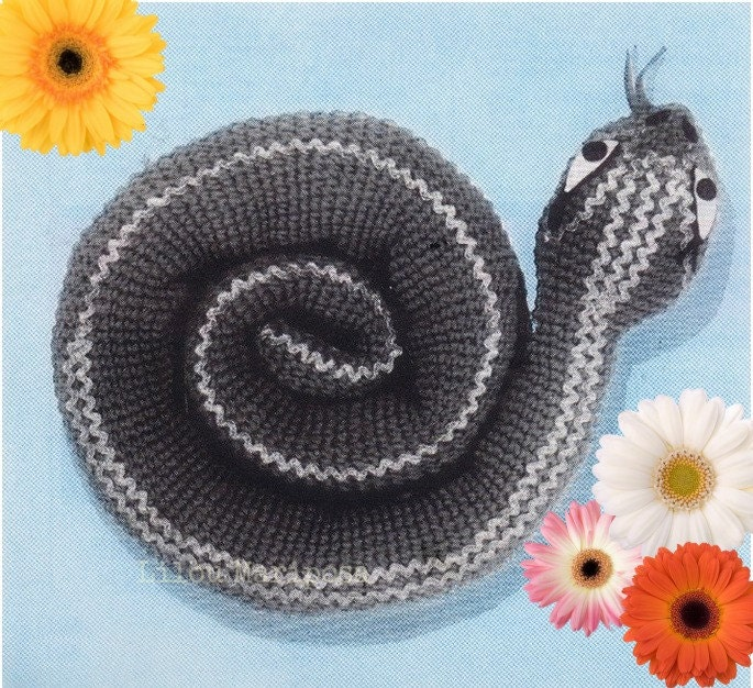 Patron pdf de tejido en crochet juguete serpiente a crochet