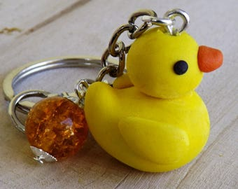 Yellow rubber ducky polymer clay keychain