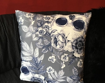 Skull Floral Throw Pillow Cover