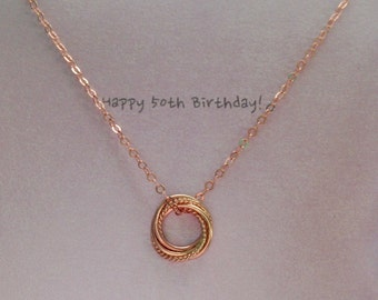 Rose Gold-Filled Dainty Entwined  Five Rings Necklace 50th Birthday Gift 5th Anniversary Gift Love Knot Necklace MADE TO ORDER