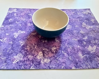 Lavender Fabric Placemats, Set of 4, Lilac Butterfly, Blue Placemats