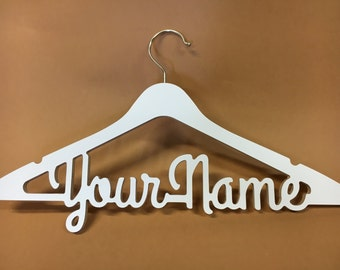 Personalized Hanger, Custom name, Gift, Wooden, White Plywood, Wedding Hanger, Decor, Wedding Hanger with Name