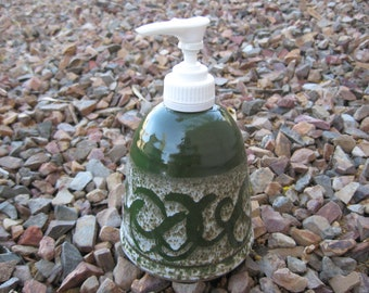 Stoneware Soap Pump,  Hand Lotion Pump with Hand Painted Dark Green with a scrolling pattern, Green Soap Pump, Stoneware Pottery Soap Pump