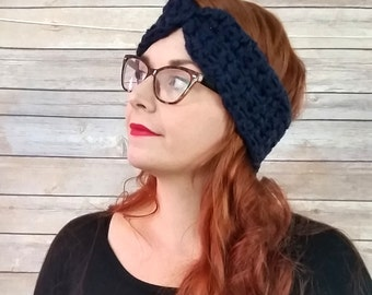 Navy ear warmer headband, turban ear warmer, chunky ear warmer, crochet/ knit ear warmer, winter accessory, winter headband, ear muffs,