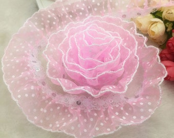 1 5/8 inch wide Pink Organza Lace Gathered Pleated Sequined Trim select length
