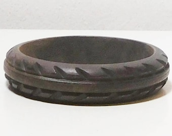 Carved Wood Bangle Bracelet, Dark Brown, Never Worn, Vintage Costume Jewelry
