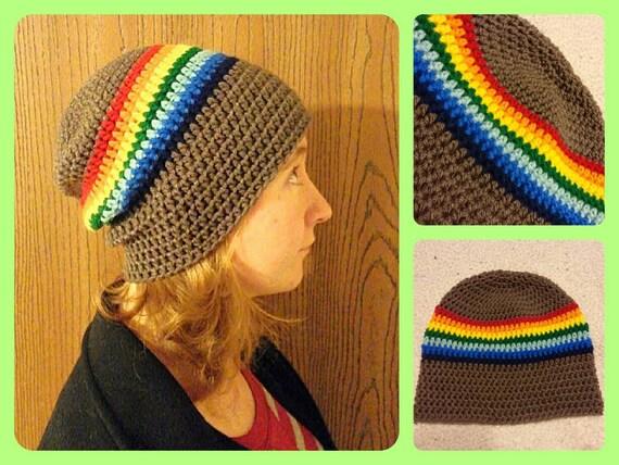 Slouchy Beanie Men Women Toddler, Rainbow Slouchy Beanie Hat Overiszed, Christmas Gift for Boyfriend Girlfriend, Pride Hat, Hippie Gifts