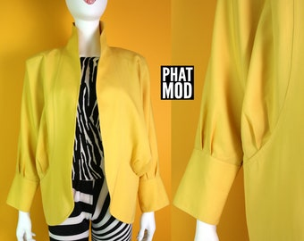 Cool New Wave Vintage 80s Raglan Sleeve Bright Yellow Jacket