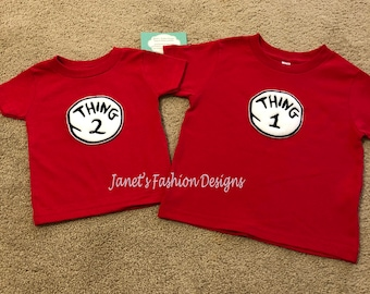 Thing 1 Shirt - Dr. Seuss inspired TShirt - Birthday Personalized Tshirt - Children TShirt Outfit - Cat in the Hat  Tee - Thing 1 & Thing 2