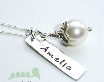 Personalized hand stamped name and date charm pearl Flower Cap Necklace