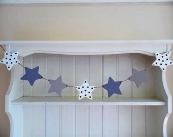 Wooden Bunting-Star Garland-Purple-Lilac-White-Stars-Hand Painted-Wooden Bunting-Bedroom Decor-Nursery Decor-Baby Shower Gift-Gift for Girls