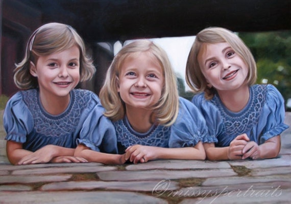 Custom Portrait - Oil Painting - Sisters - Family Portrait - Gift for the Family