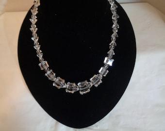 Czechoslovakia Cube and Pyramid Shaped Crystal Necklace Choker Bride Wedding