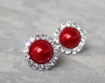 Red Earrings, Red Bridal Jewelry, Red Bridesmaid Jewelry, Red Pearl and Rhinestone Earrings, Bright Red Wedding Jewelry, Pierced Earrings