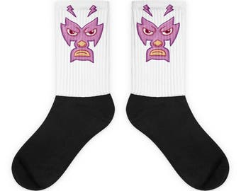 Luchador Mexican Wrestler Purple Mask Cartoon Face Socks