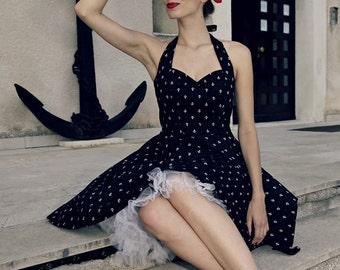 Pin Up Dress Nautical Dress Anchor Sailor Dress Rockabilly Clothing Summer Dress 50s Swing Dress Prom Bridesmaid Holiday Dress Party Dress