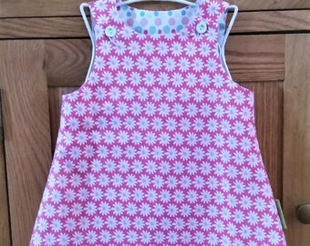 Baby dress, pinafore, girls dress, summer dress, sun dress, handmade dress, pink, daisies. Christening gift, naming day gift. Age 3-6 months