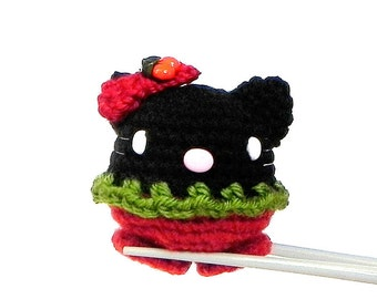 Amigurumi - Cherry kitty MochiQtie - Mini Crochet amigurumi Mochi size animal toy doll