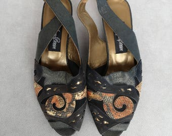 Jean Jaques Benson shoes, 40s Shoes, 50s Shoes, Peep Toe Pumps, Slingback Sandals, Blue Yellow Heels, Retro High Heels, Size 37 Pumps