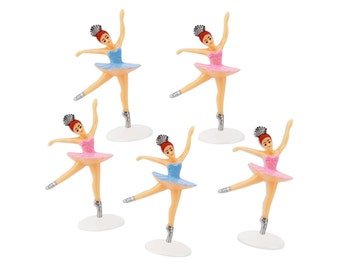 Ballerina Toppers - 12 pink and blue vintage ballet dancer cupcake and cake toppers